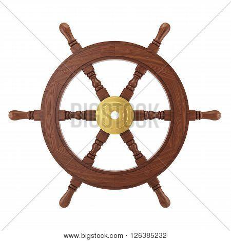 3D Wooden Ships Wheel Rendering
