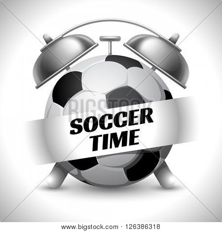 Soccer Time. Concept on Sport Football Theme. Time to Play Sports. Time to Watch Football. Time To Play Football. Vector Illustration. Isolated On White background.