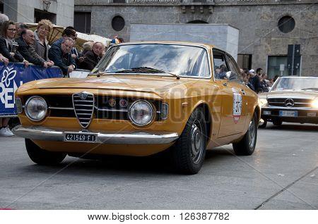 BRESCIA, ITALY - APRILE 17, 2016:500 Miglia. Finish. ALFA ROMEO GULIA GT 1300 Junior, 1974 built