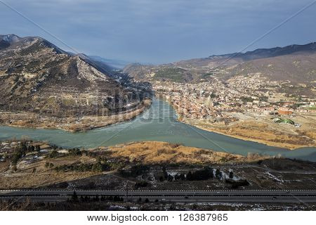 Jvari. Georgia. Panoramic view to the the confluence of the Mtkvari and Aragvi rivers and the town of Mtskheta.