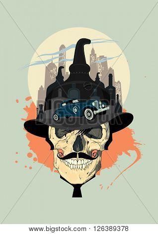 Bootlegger design with man's skull