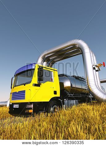 Truck driven by fuel on the road.,3d render