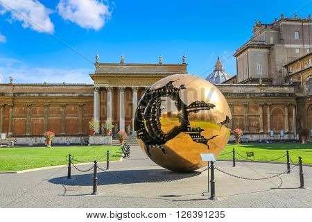 Vatican Italy - June 26 2014: Sphere within sphere in Courtyard of the Pinecone at Vatican Museums. There is no one of the people.
