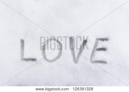 Love Word Writen On The Snow, Love Concept