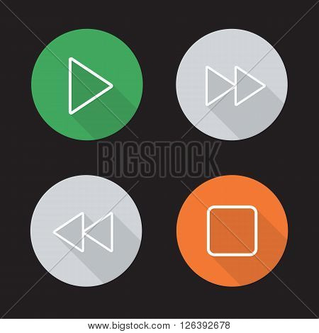 Audio player flat linear icons set. Play, stop, forward and backward rewind buttons. Multimedia app interface. Long shadow outline logo concepts. Vector line art illustrations