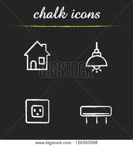 Home interior chalk icons set. Air conditioner, power rosette and illuminated ceiling lamp. Modern house interior electricity items. White illustrations on blackboard. Vector chalkboard logo concepts
