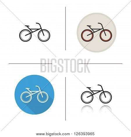 Bicycle flat design, linear and color icons set. Sport bike icons. Pedal driven vehicle. Sport transportation. Long shadow logo concept. Isolated bicycle vector illustrations. Infographic elements