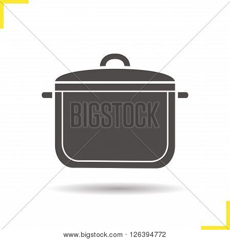 Pot icon. Drop shadow pot icon. Kitchen utensil. Household kitchen equipment. Isolated pot black illustration. Logo concept. Vector silhouette pot symbol