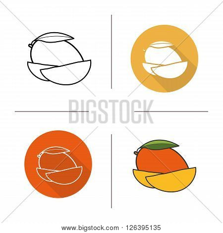 Mango flat design, linear and color icons set. Mango in different styles. Sliced mango icons. Tropical fruit. Long shadow logo concept. Mango isolated vector illustrations. Infographic elements