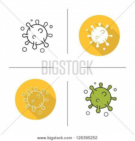 Virus flat design, linear and color icons set. Microscopic sphere shape bacterium. Medical infection. Molecular organism. Contour and long shadow logo concepts. Isolated vector illustrations
