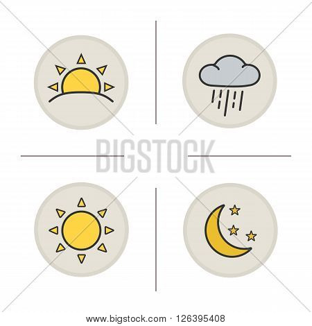 Weather color icons set. Sunrise and cloud with rain. Sun, moon and stars. Sunny and rainy weather. Sunrise and moonrise icons. Meteorology symbols. Logo concepts. Vector isolated illustrations