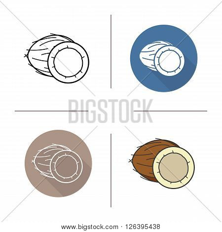 Coconut flat design, linear and color icons set. Coconut in different styles. Halved coconut icons. Tropical fruit. Long shadow logo concept. Isolated vector illustrations. Infographic elements