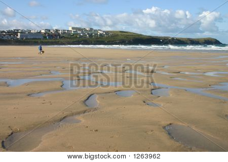 Walking The Dog On Fistral Beach, Newquay, Cornwall, Uk