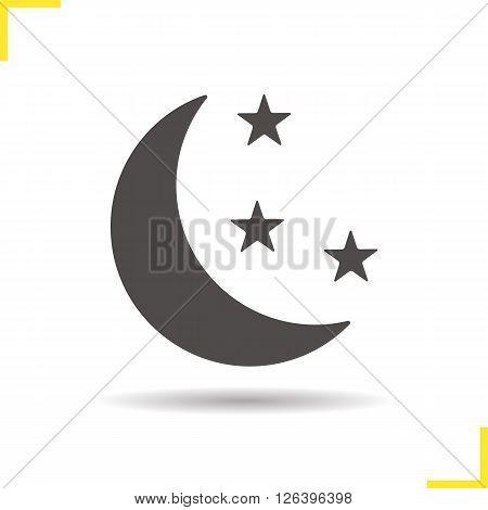 Night icon. Drop shadow moon icon. Astronomical phenomenon. Bedtime. Isolated night black illustration. Logo concept. Vector silhouette moon symbol