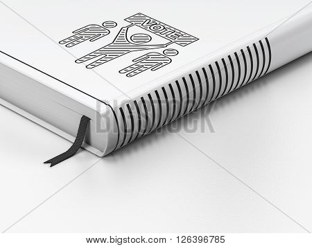 Politics concept: closed book, Election Campaign on white background