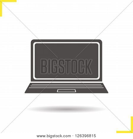Laptop icon. Drop shadow laptop icon. Portable personal computer. Modern office equipment. Isolated laptop black illustration. Logo concept. Vector silhouette laptop symbol