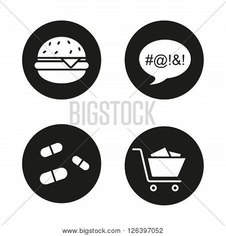 Bad habits black icons set. Obesity, dirty language, pills and compulsive buying disorder symbols. Fastfood, drugs, shopping cart and swearing. Addictions. White illustrations. Vector logo concepts