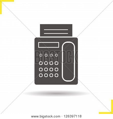 Fax icon. Drop shadow fax icon. Office electric communication equipment. Moder business device. Isolated fax black illustration. Logo concept. Vector silhouette fax symbol