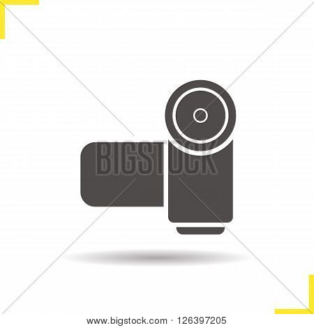 Video camera icon. Drop shadow video camera icon. Director and photographer equipment. Isolated video camera black illustration. Logo concept. Vector silhouette video camera symbol