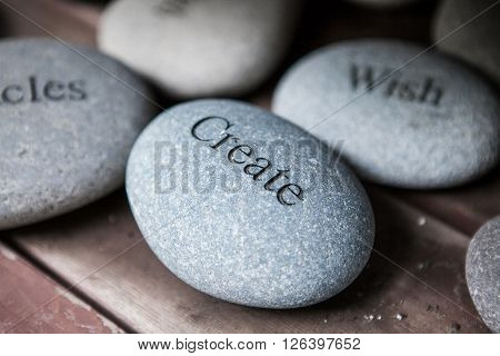 pebble with engraved message create. Inspirational stones