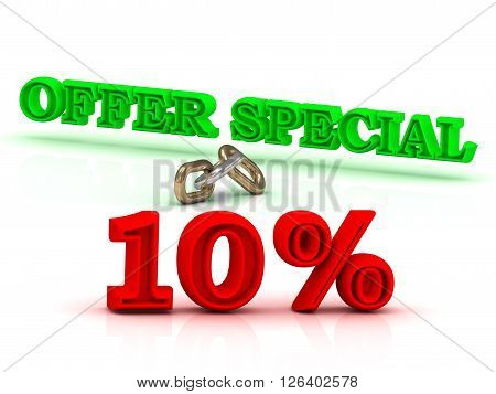 10 PERSENT OFFER SPECIAL business icon green keywords isolated on white background