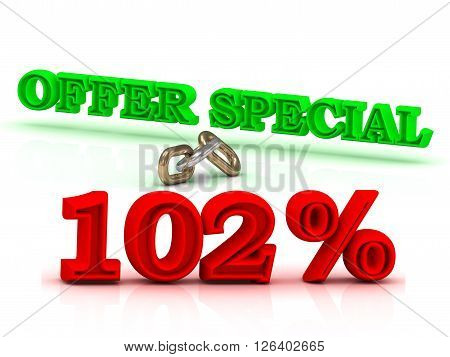 102 PERSENT OFFER SPECIAL business icon green keywords isolated on white background
