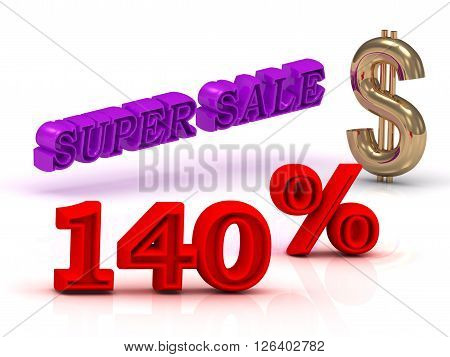 140 PERSENT SUPER SALE business icon keywords gold dollar isolated on white background