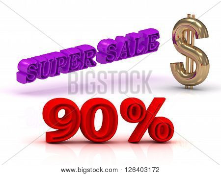 90 PERSENT SUPER SALE business icon keywords gold dollar isolated on white background