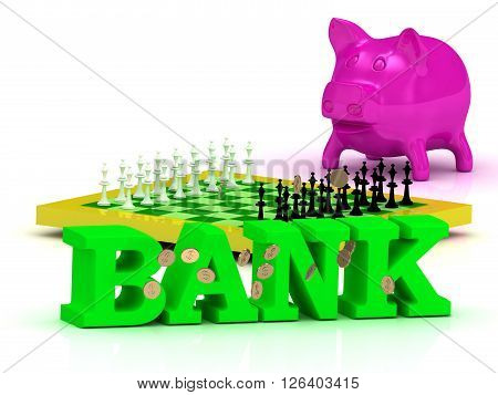 BANK bright word money pink piggy yellow chess on white background