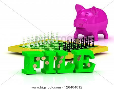 FILE bright word money pink piggy yellow chess on white background