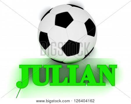 JULIAN bright volume letter word football big ball on white background