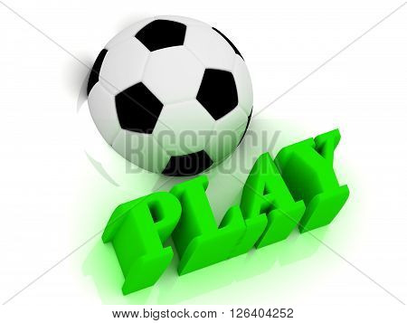 PLAY bright volume letter word football half ball on white background