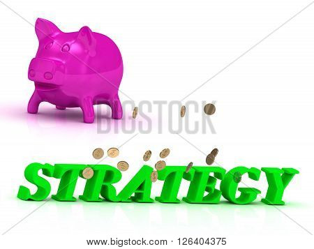 STRATEGY Name and Family bright word pink piggy on white background