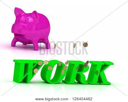 WORK Name and Family bright word pink piggy on white background