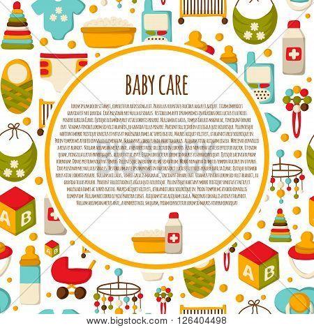 Vector newborn goods. Baby shower concept. Baby care newborn background in cartoon style. Baby care icons. Vector newborn background with baby care goods. Seamless newborn and baby care background
