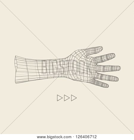 Human Arm. Human Hand Model. 3d Covering Skin. Polygonal Design.