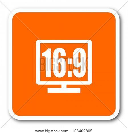 16 9 display orange flat design modern web icon