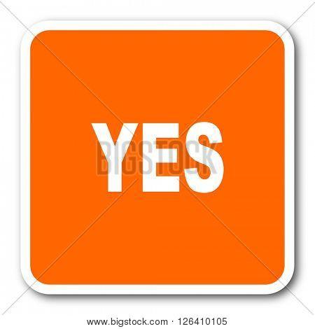 yes orange flat design modern web icon