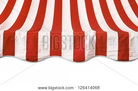 Red white striped awning overhang