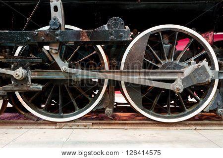 Close up wheels on stream powered locomotive. Southeastern Railway Museum