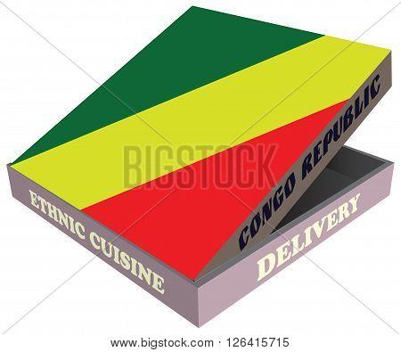 Delivery Ethnic cuisine Congo Republic. Cardboard packaging. Vector illustration.