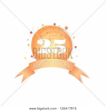 Twenty-fifth Anniversary Celebration Vector Design isolated on white background