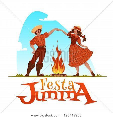 Girl and boy dancing at Brazilian Festa Junina Party. Vector illustration.