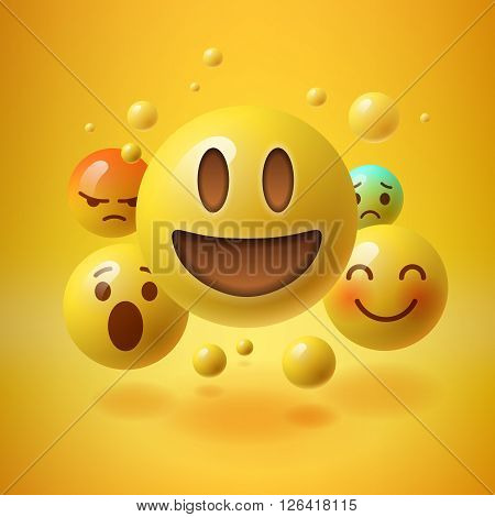Concept for community people teamwork, yellow background with group of smiley emoticons, emoji, vector illustration.