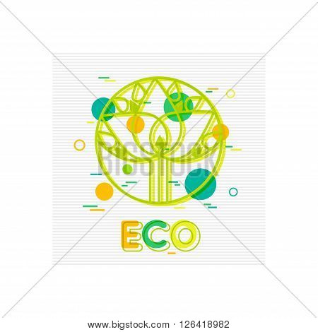 Eco Concept background with abstract tree. Eco vector banner. Eco Friendly. Eco Icons. Eco Logo. Eco Badge. Flat Style. Vector illustrator.