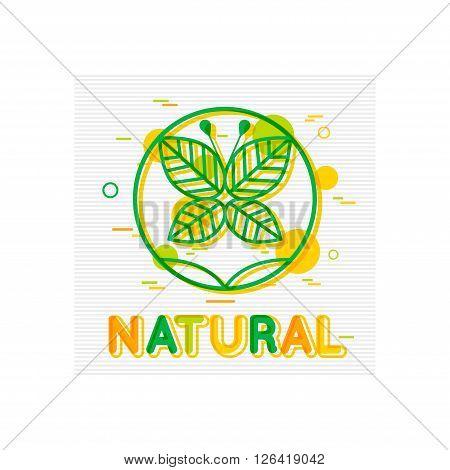 Natural Concept. Natural Banner. Natural Logo Design. Natural Poster Template. Natural foods. Natural Icon. Natural Badge. Flat Style. Vector illustrator.
