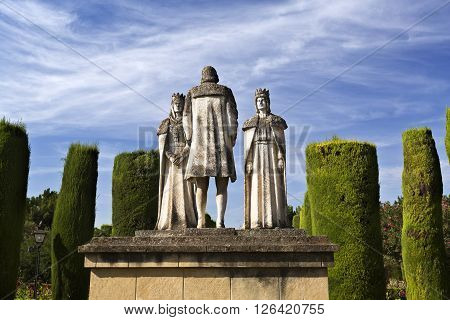 CORDOBA, SPAIN - September 10, 2015: Statues of the Catholic Monarchs (Ferdinand and Isabella) and Christopher Columbus in the gardens of the Alcazar on September 10, 2015 in Cordoba, Spain