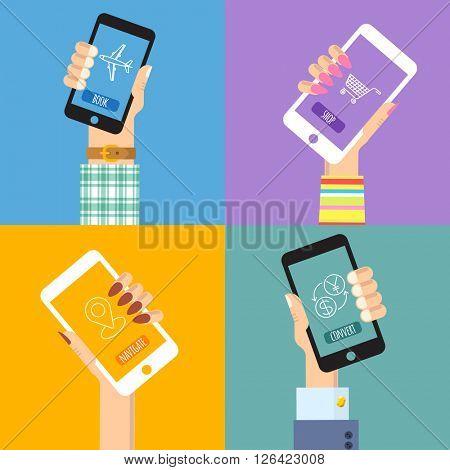 Mobile options. Flat design vector template set.