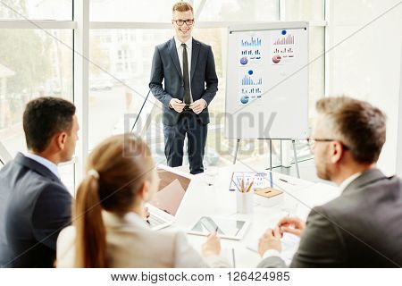 Businessman by whiteboard