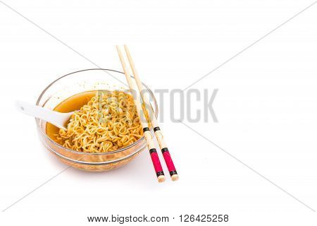 Bowl of convenient but unhealthy instant noodle with sodium flavored soup on white background poster